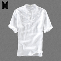 Men's Casual White Color Embroidery Short Sleeve Shirt Quality Cotton Linen Loose Stitching Men's Shirt Y1779