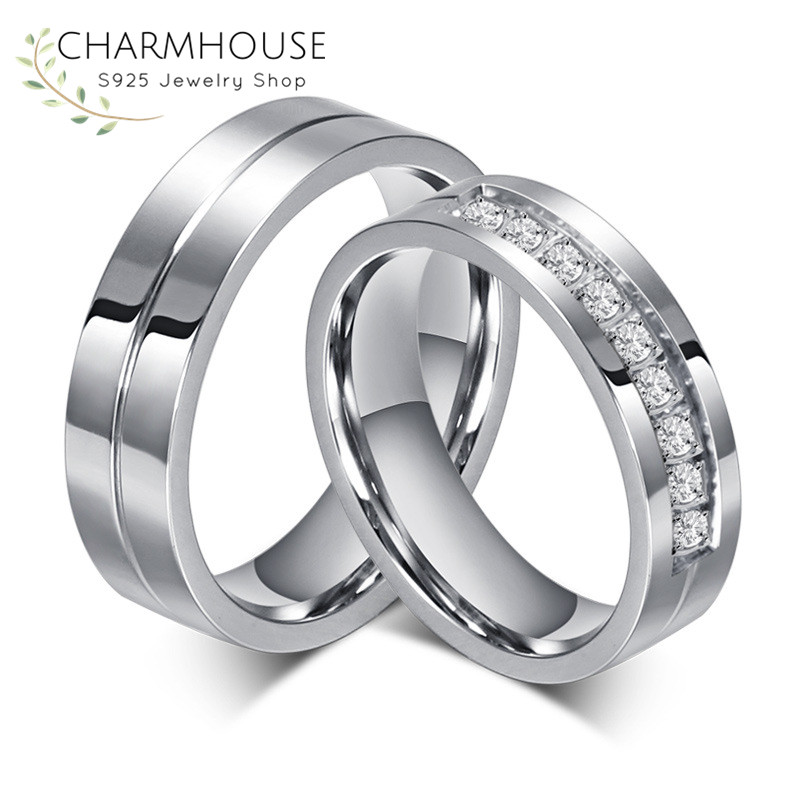 316L Нержавеющаясталь Пара Кольца с кубического Zircnoia обещание Обручение кольцо для Для женщин Для мужчин свадебные аксессуары ювелирные ...
