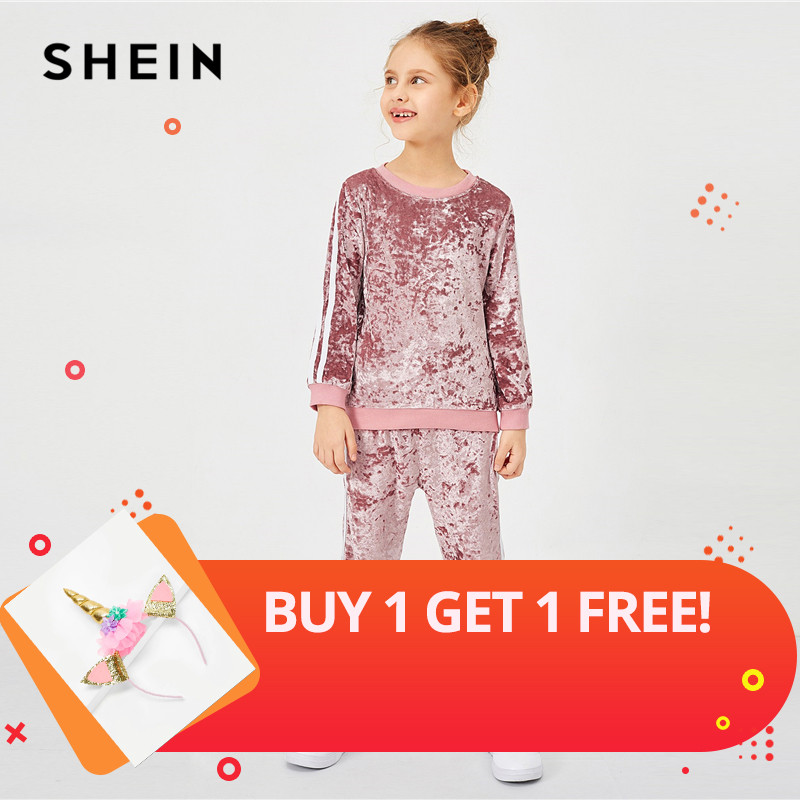 SHEIN Girls Pink Contrast Tape Side Velvet Casual Pullover And Pants Two Piece Set 2019 Fashion Long Sleeve Children Clothes charming color block raglan sleeve asymmetric pullover sweatshirt for women