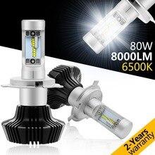2x светодиодный чипы 80 Вт 8000лм H4 H7 H11 9005 9006 комплект фар H/L луч лампы 6000K для Audi BMW Toyato VW