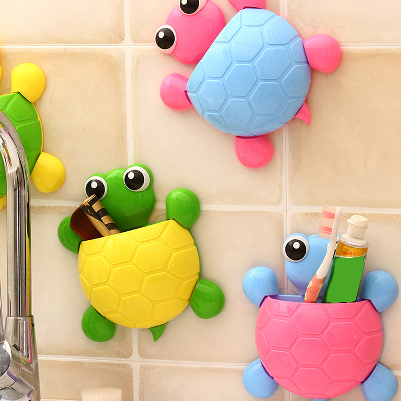 1Pcs Cartoon Sucker Hook Toothbrush Holder Kid Cute Tortoise Wall Mount Toothpaste Holding Bathroom Accessories Tool