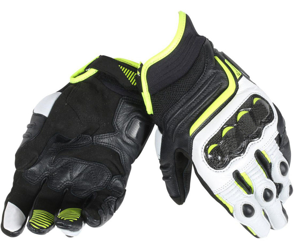 2018 Dain Carbon D1 Short Men's Genuine Leather Gloves for Motorcycle Sports Racing Black/White/Fluo Yellow куртка picture organic atlas black fluo yellow