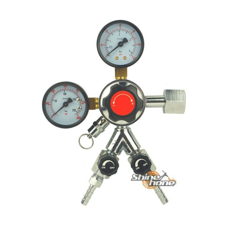 Economical CO2 Dual Gauge Regulator w/ Y splier and two Checkvalve Homebrew CO2 Regulator, 0~3000psi, 0~60psi, British/European
