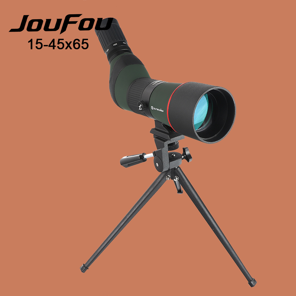 JouFou 15-45x65 Hunting Spotting Scope Power Zoom Monocular Fully Multicoated Optics BAK4 Birdwatching Telescope with Tripod 10x zoom telescope lens with tripod