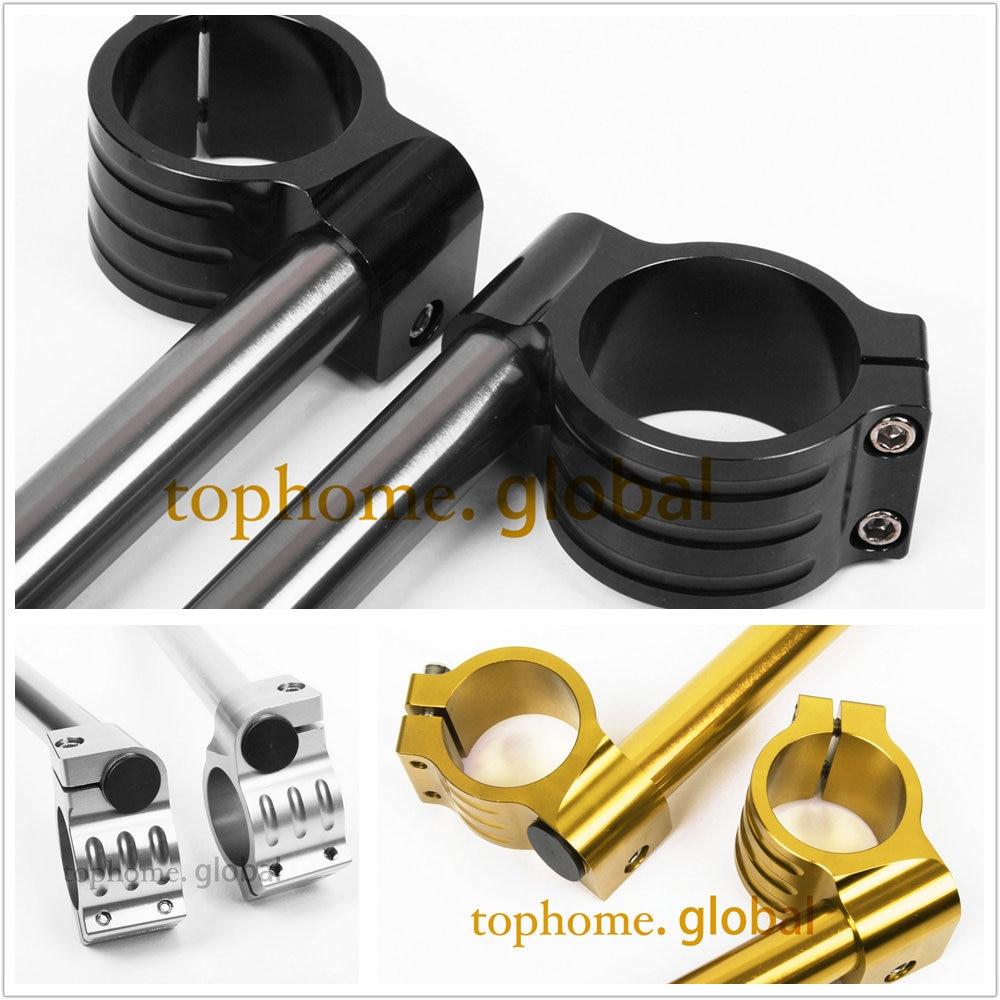CNC 54mm Regular Clip Ons handlebars handle bar Fork Tube One Pair Black Gold Silver Motorcycle