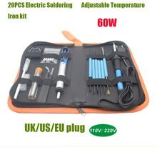 EU/US/UK Plug 60W Electric Soldering Iron 220V/110V Adjustable Temperature kit Stand Welding Tools