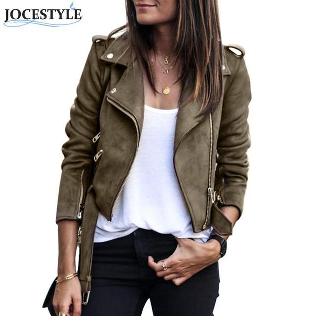 Искусственная кожа замша Куртки Для женщин осень короткие тонкий Базовые куртки для женщин женские длинный рукав пальто 2017 зима красивые мотоциклетные уличная