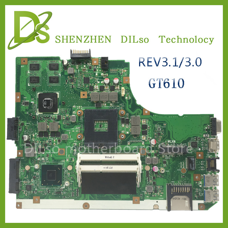 KEFU A55V for ASUS K55VD A55V mainboard REV3.1/3.0 motherboard For ASUS K55VD A55V motherboard GT610 100% tested ytai k55vd rev 3 1 mianboard for asus k55vd k55a laptop motherboard hm76 integrated graphic card 2 ddr3 usb3 0 mainboard