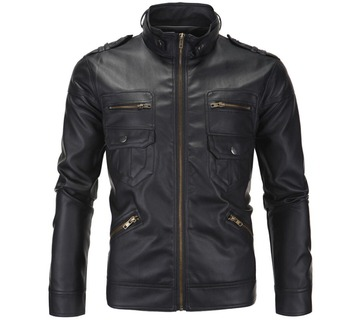 mens leather jacket slim motorcycle coat jackets clothes personalized England Stand collar stage street dance rock fashion black