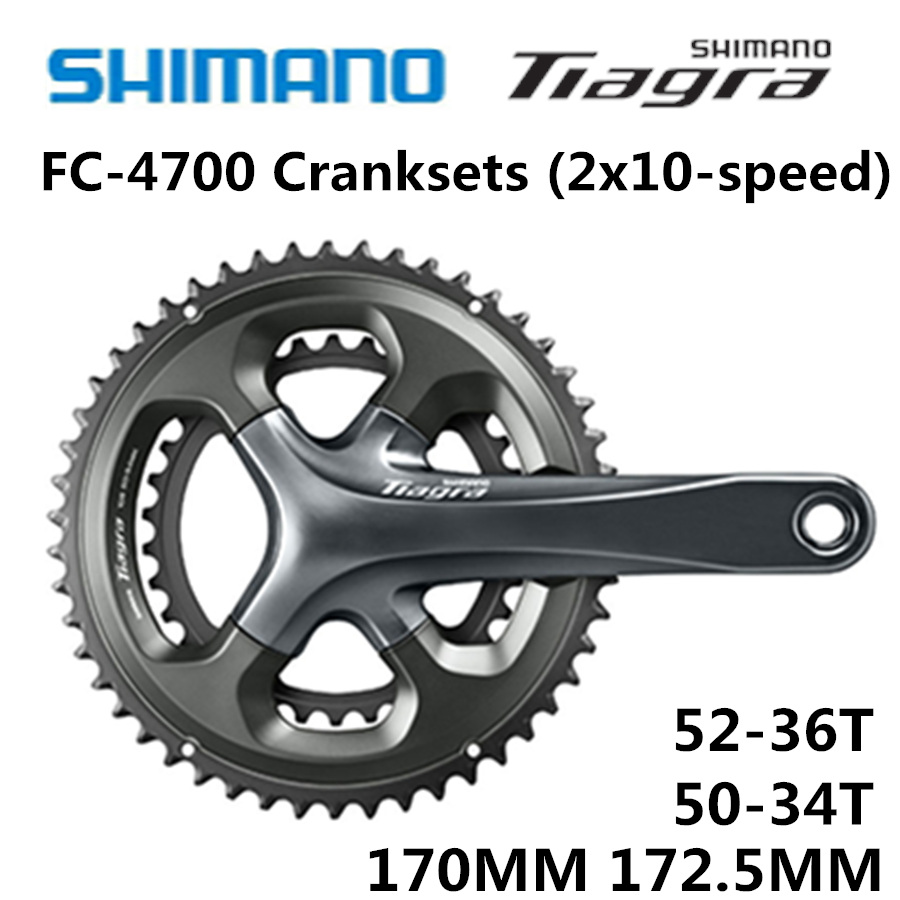 SHIMANO Tiagra HOLLOWTECH II CRANKSET FC-4700 Crankset FC 4700 2x10-Speed 50-34T 52-36T 170MM 172.5MM звезда передняя shimano для fc rs500 34t mh черная для 50 34t y1pr34000