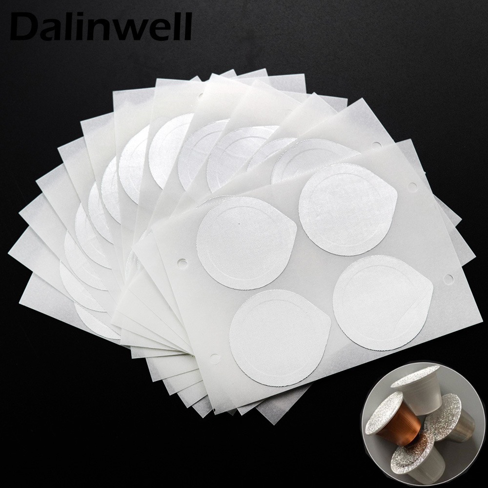 240PC Refillable Nespresso Coffee Capsule Flim Sticker Refilling Stainless Steel Capsule Self Adhesive Aluminum Foil Brewer Lid