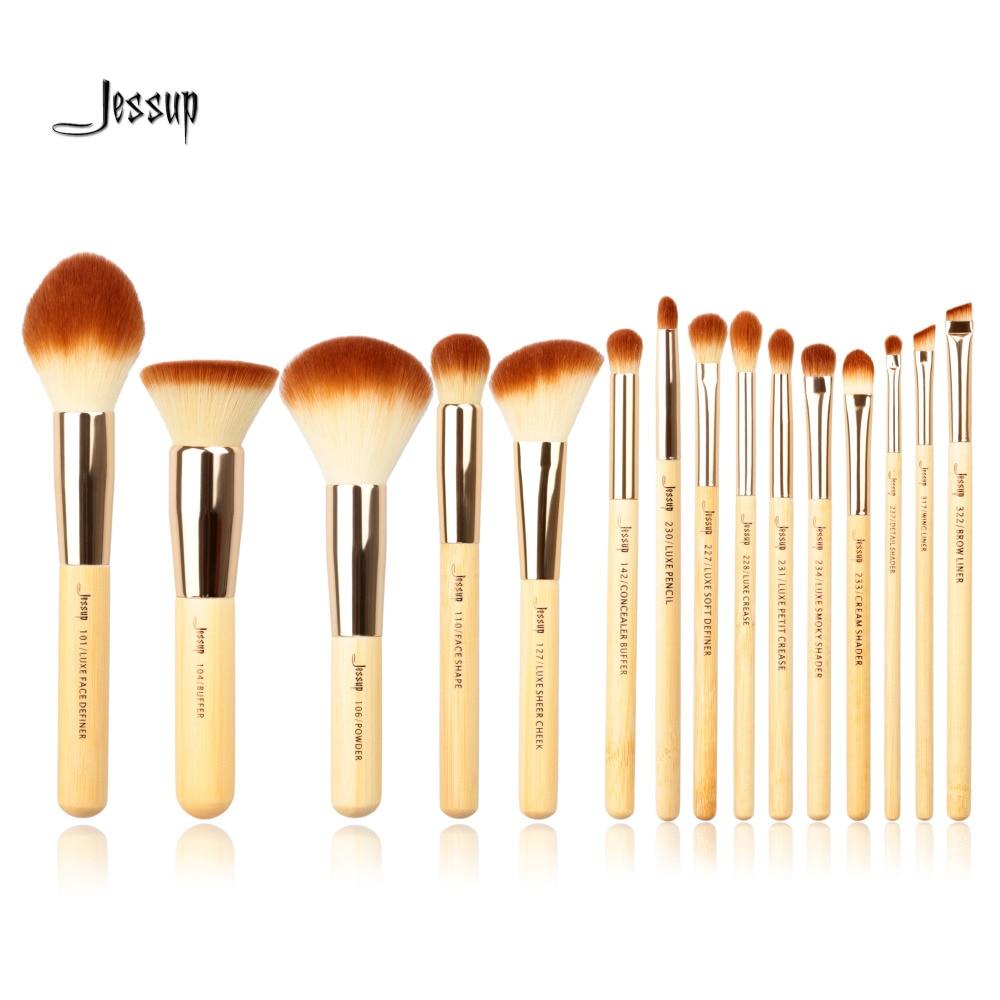 Jessup Bambus 15 stücke Beauty Professional Make-Up Pinsel Set Make up Pinsel Tools kit Foundation Pulver Definierer Shader Liner