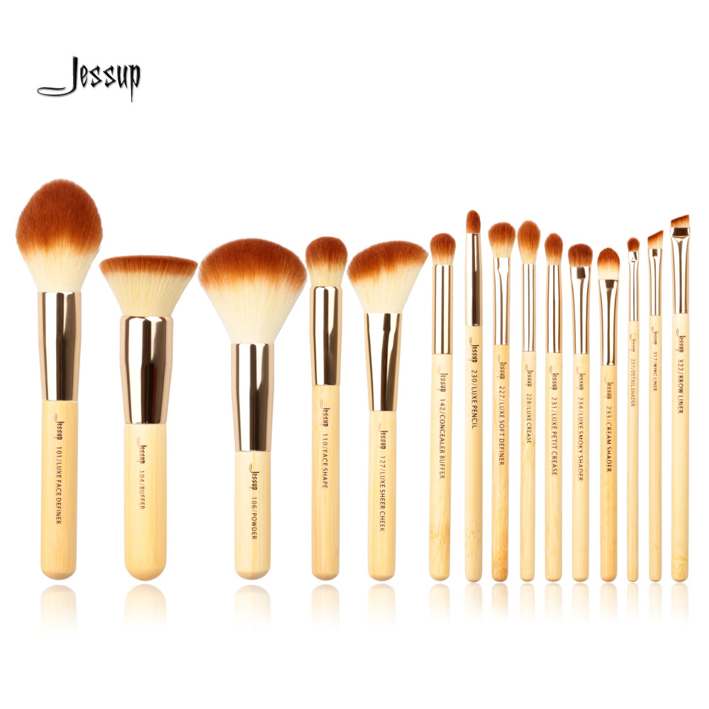 Jessup Brand 15pcs Beauty Bamboo Professional Makeup Brushes Set Make up Brush Tools kit Foundation Powder Definer Shader Liner jessup brushes 15pcs beauty makeup