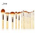 Jessup marca 15 pcs beleza de bambu pincéis de maquiagem profissional definida make up tools escova kit foundation pó definer shader liner