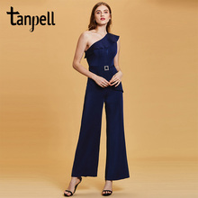 цена на Tanpell one shoulder jumpsuit evening dress dark navy sleeveless floor length sheath gown lady party formal long evening dresses
