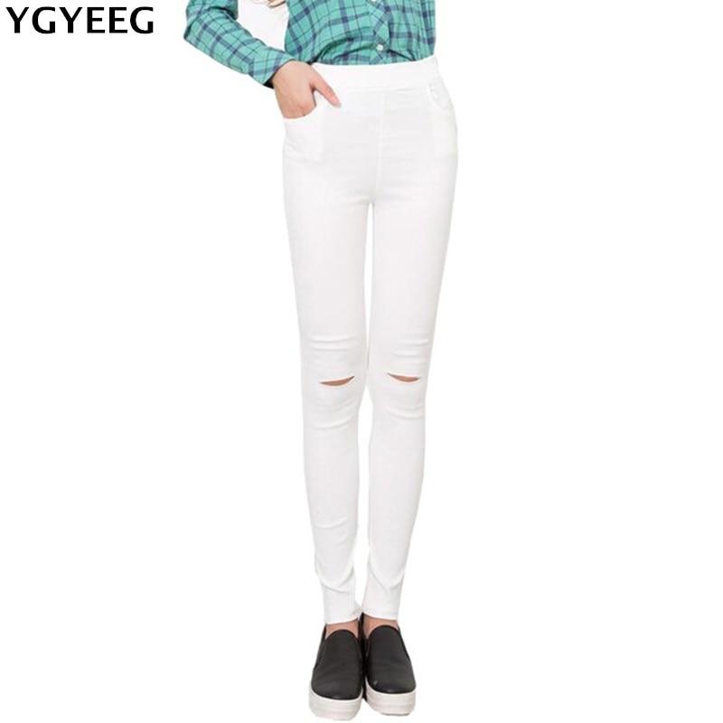 YGYEEG Summer Style Black Hole Torn Leggings Women's Pants High Waist Femme For Women Skinny White Casual Pants High Quality