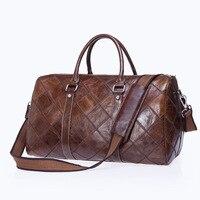 Brand New European Style Design Genuine Cow Leather Travel Bag Duffle Unisex Handbag Shoulder Bag Messenger Bags Men&Women