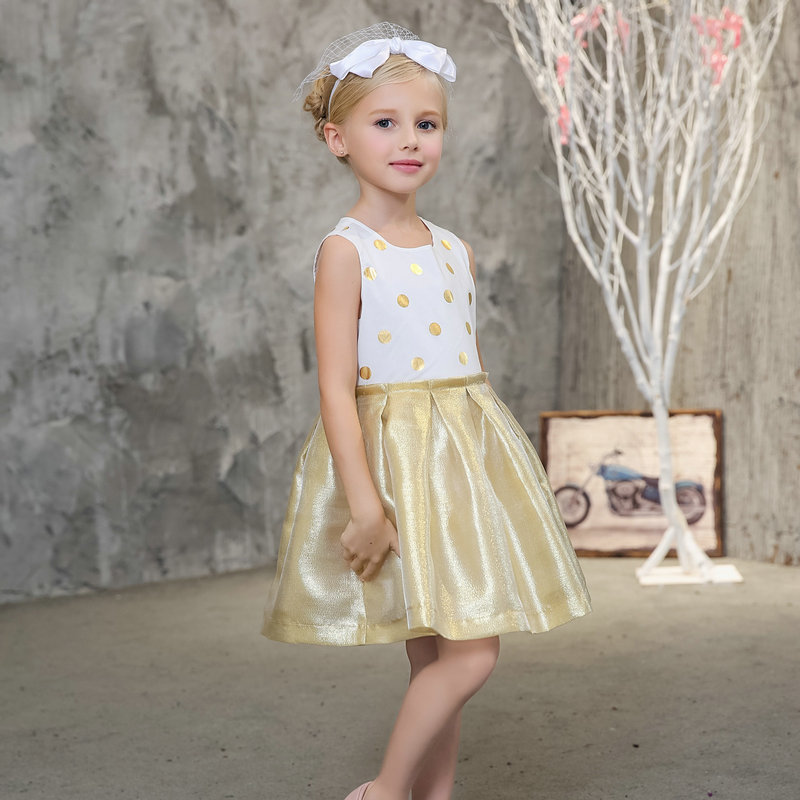 2017 Children Girls Dresses Summer 100%Cotton Sleeveless Dots Dress Baby Girls Princess Dresses Gold Color Hem