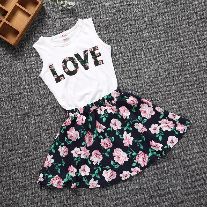 fashion floral girls dress sleeveless letter print shirt elegant baby girls clothes casual children clothing set 3-7 years old letter print knot front top