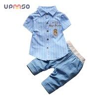 Baby Boy Clothing Cotton Gentleman Suit Fashion Stripe T Shirt Jeans Two Piece Set Summer Newborn