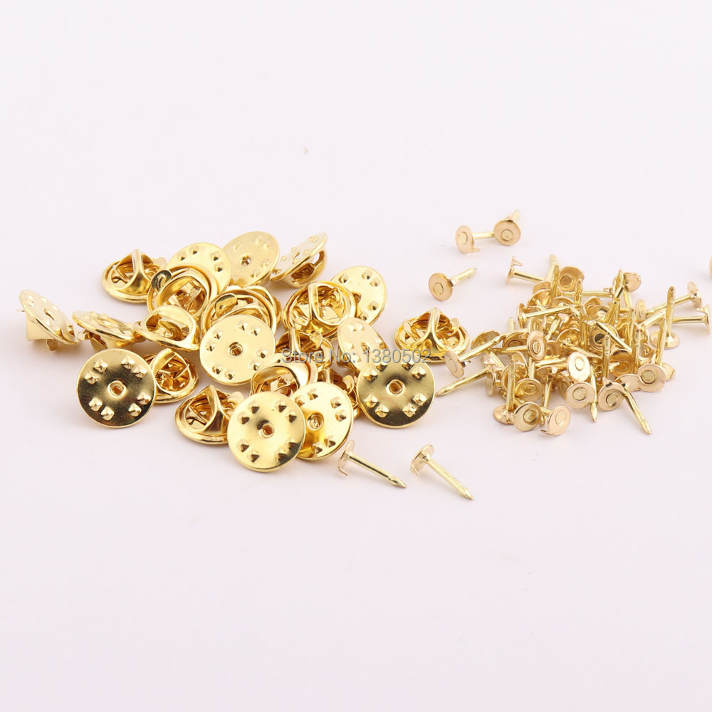 Brass Butterfly Clutch Badge Insignia Clutches Pin Backs Replacement Gold, 100 Pieces