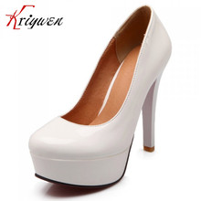 3Colors 12.5cm thin heels new sexy pu leather red black white shoes women's pumps 3.5cm platform high heels wedding brand shoes
