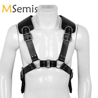 MSemis Men Bondage Harness Men Gay Leather Harness Men Buckle Body Chest Half Harness Bondage Gothic Gay bdsm Bondage Men Adult
