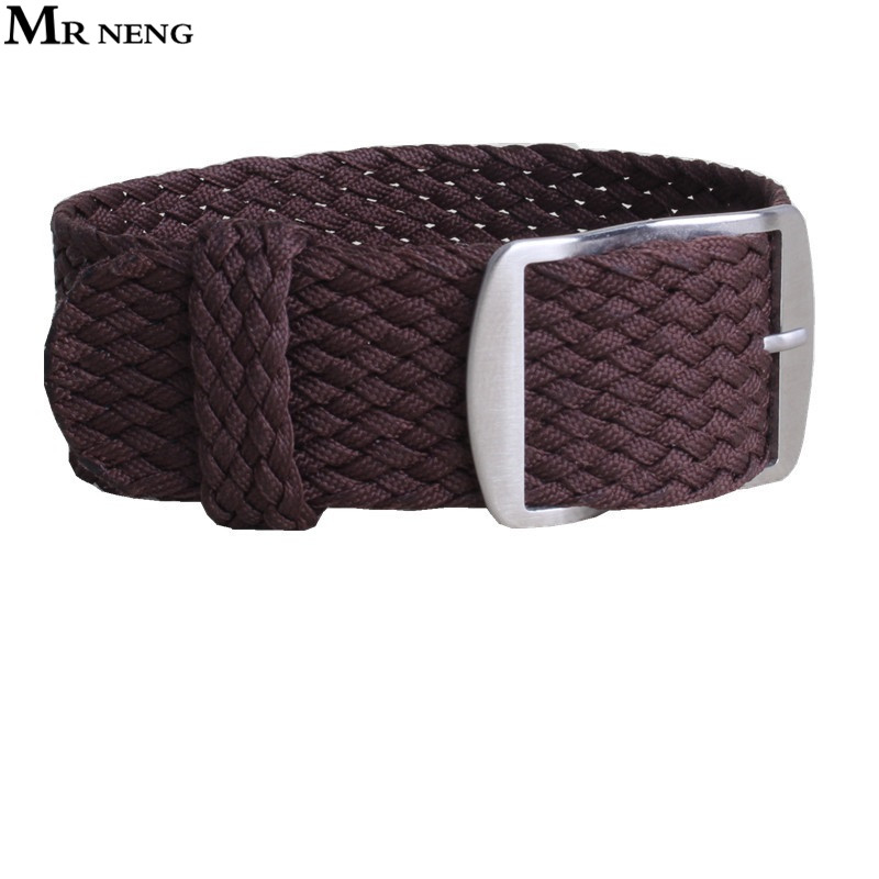MR NENG 1 PCS / Wholesale Fashion NATO nylon Brown WATCHBAND 20mm 22mm  waterproof nylon perlon watch strap For Men and women free shipping wholesale black brown perlon strap braided watch strap 20mm watchband with buckle