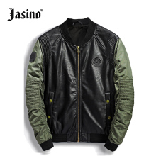 men casual green motorcycle leather jacket Pilot Military baseball Jackets coat wind breaker men ma1 bomber biker jackets male