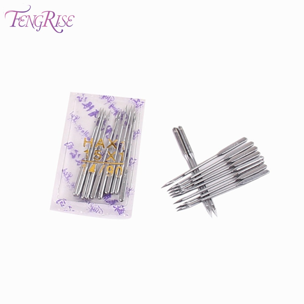 FENGRISE 10 pcs 90 14 Lockstitch Singer Sewing Machine Needles Stainless Steel Pins Apparel Sewing Fabric Tool Accessories Patch