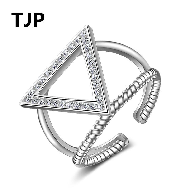 TJP Unique Triangle Design Cubic Zirconia Gold Rose Finger Jewelry Charm 925 Sterling Silver Rings Open Size Stones Around