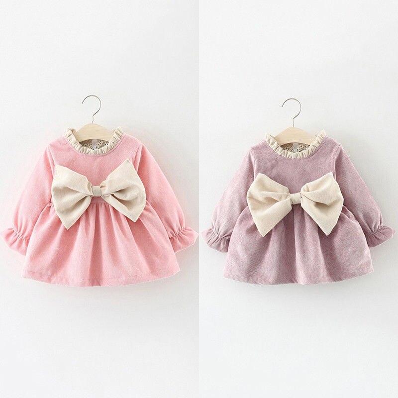 Cute Bowknot Dress 2018 Newborn Infant Kids Baby Girl Cotton Princess Party  Dress Winter Clothes bb01233ea144