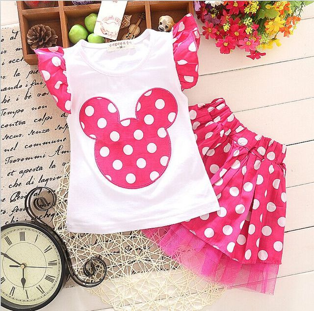 2pcs New Summer Hot Selling Baby Round Spot Printing Lovely Suit