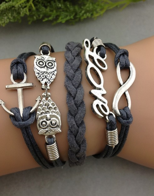 1pcs infinity handmade bracelet.metal charm,wax cord,leather bracelet fashionable jewerlly bracelet 1171