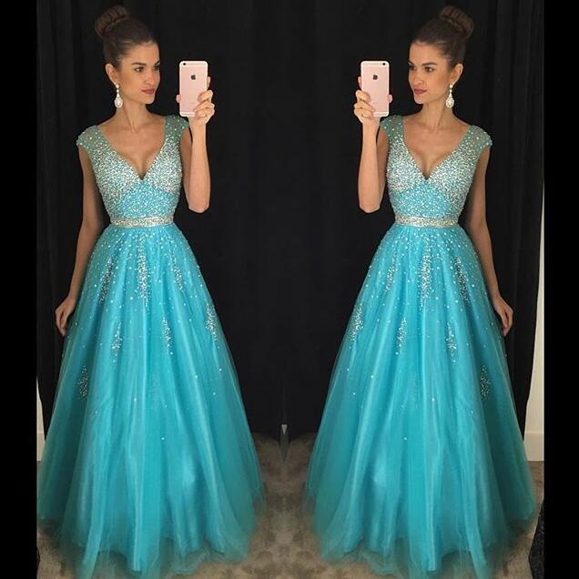 Blue Robe De Soiree 2019 Ball Gown V-neck Cap Sleeves Tulle Beaded Crystals Sexy Long   Prom     Dresses     Prom   Gown Evening   Dresses