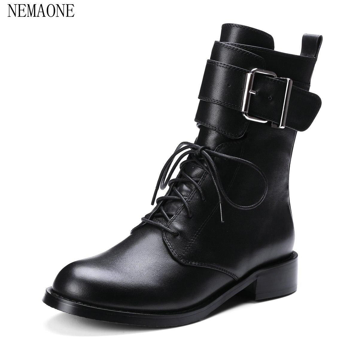 NEMAONE 2018 autumn new arrive women boots black genuine leather rivet ankle boots classic zipper boots big size 34-40