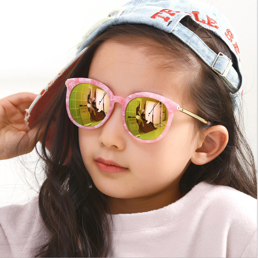 High Quality Fashion Design 100% UV400 Round Photochromic Lens Marble Frame Kids Sunglasses For Girls Boys Silver Mirrored