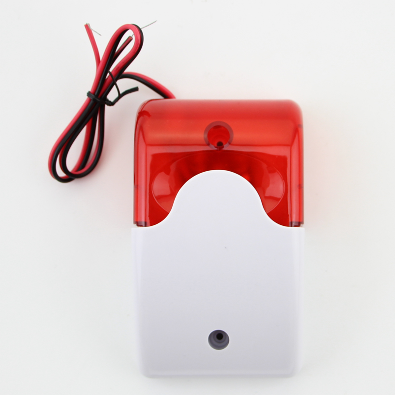 Image 3 - Free Shipping!9 12V Mini Indoor Wired Siren with Red light Siren Flash Sound Home Security Alarm Strobe System 110dB Hot Sale-in Alarm Siren from Security & Protection
