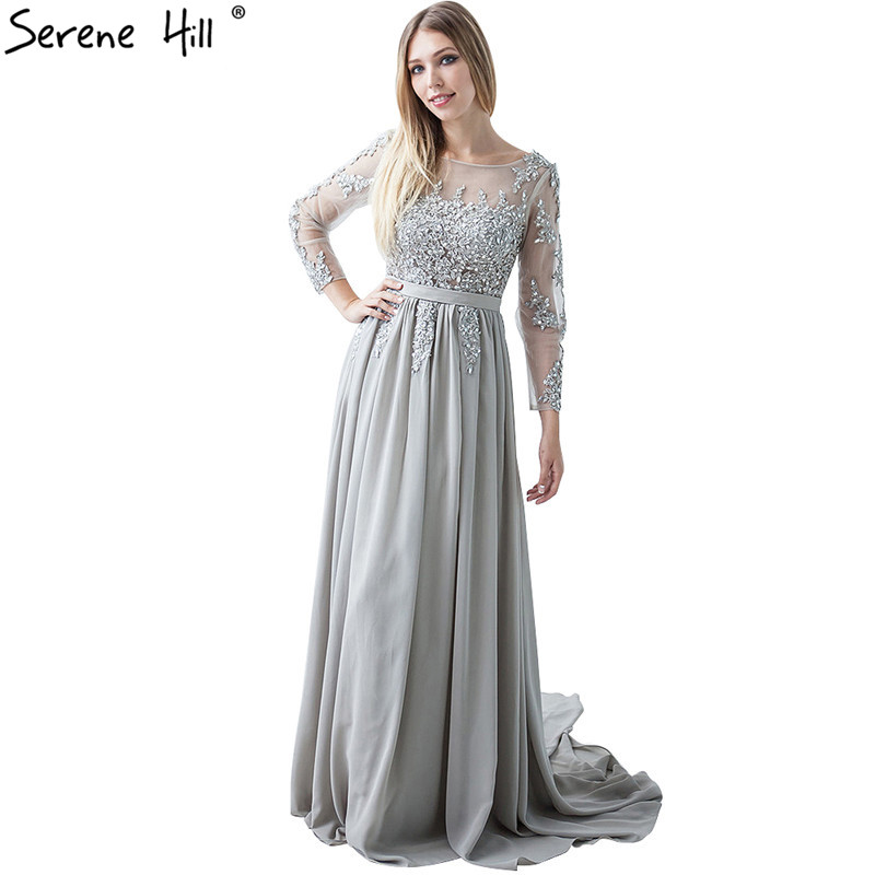 Gray Beading Crystal Formal Long Sleeve backless elegant   evening     dresses   Prom Custom Size Party   Dress   2019   Evening     Dress   HA2097
