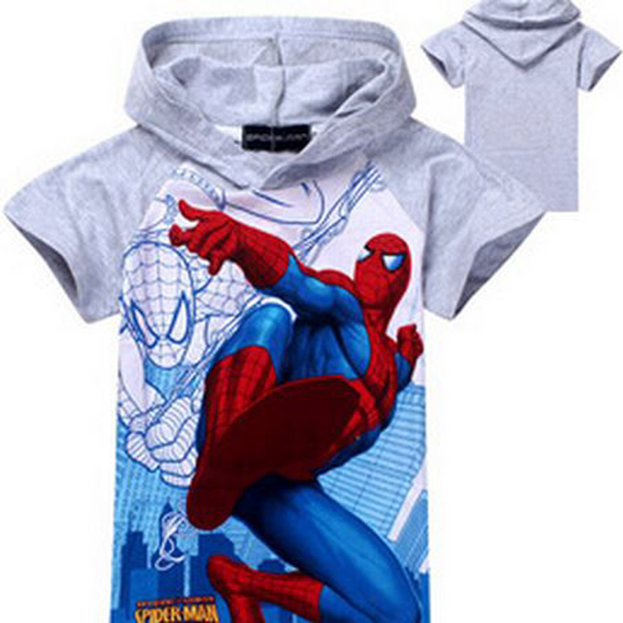 New Children Summer Short Sleeve <font><b>T-Shirts</b></font> Boys Cartoon <font><b>Spiderman</b></font> Tees <font><b>Kids</b></font> Fashion Hoodies In Stock Retail XMZ040