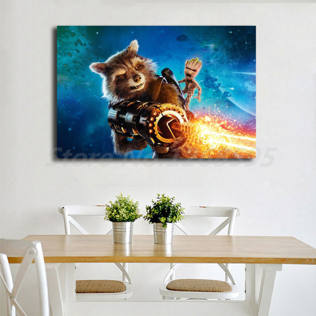 Marvel Guardians Of The Galaxy 2 Rocket Raccoon Wallpaper Art Canvas Poster Painting Wall Picture Print