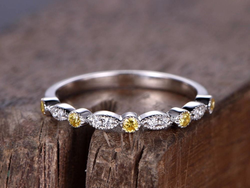 Art Deco wedding ring 925 sterling silver stacking wedding band white gold plated Natural citrine ring Milgrain matching band серьги art silver art silver ar004dwzmh30