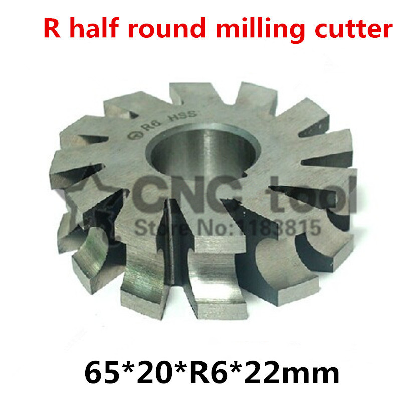 R6 65*20*R6*22mm Inner hole HSS Concave Radius Milling Cutters R half round milling cutter Free shipping|Milling Cutter| |  - title=