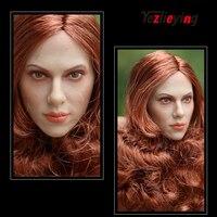 GACTOYS GC002 Black Widow 1/6 scale action figures 12inch head Modeling Scarlett Johansson Long RedBrown Hair Women's Head Model