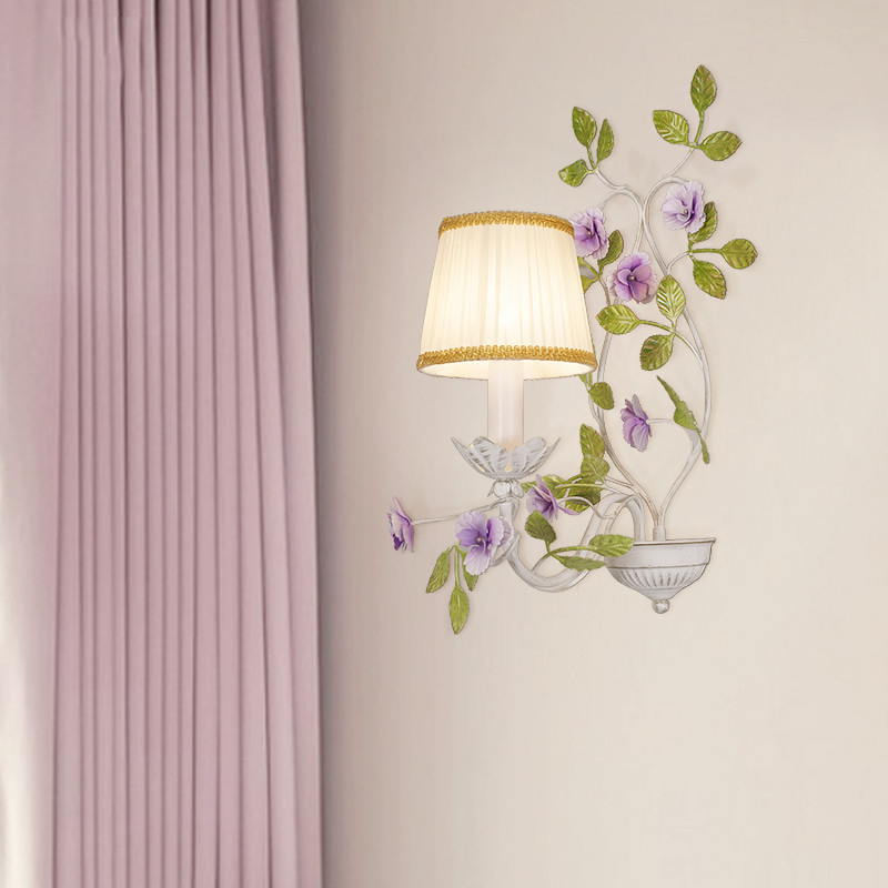 Nordic American Rustic Rural Garden Leaf Pink Flower Romantic Bedroom Wall Bedside Lamp Led Living Room Wire Staircase Lights