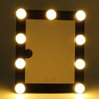 2017 Nuovo Nero di Modo HA CONDOTTO LA Lampadina Vanity Specchio per Il Trucco Illuminato Con Dimmer Stage Beauty Touch