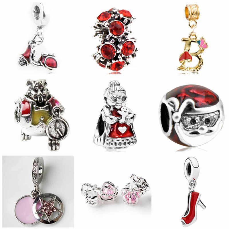 Kecil Laporan Kristal Cinta Hati Senyum Wajah Nenek Bear Crown Pesona Manik-manik Cocok Pandora Asli Gelang untuk Wanita Perhiasan