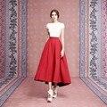 Rojo de moda de Invierno Otoño Primavera Estilo la Altura Del Tobillo Tafetán Falda Faldas Largas Para Las Mujeres de Color Sólido Envío Libre Por Encargo