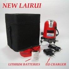 LAIRUI marka 5 linie 6 punktów laser level 360 stopni obrotowy krzyż linia lasera poziom z zewnątrz tryb i litowo baterii