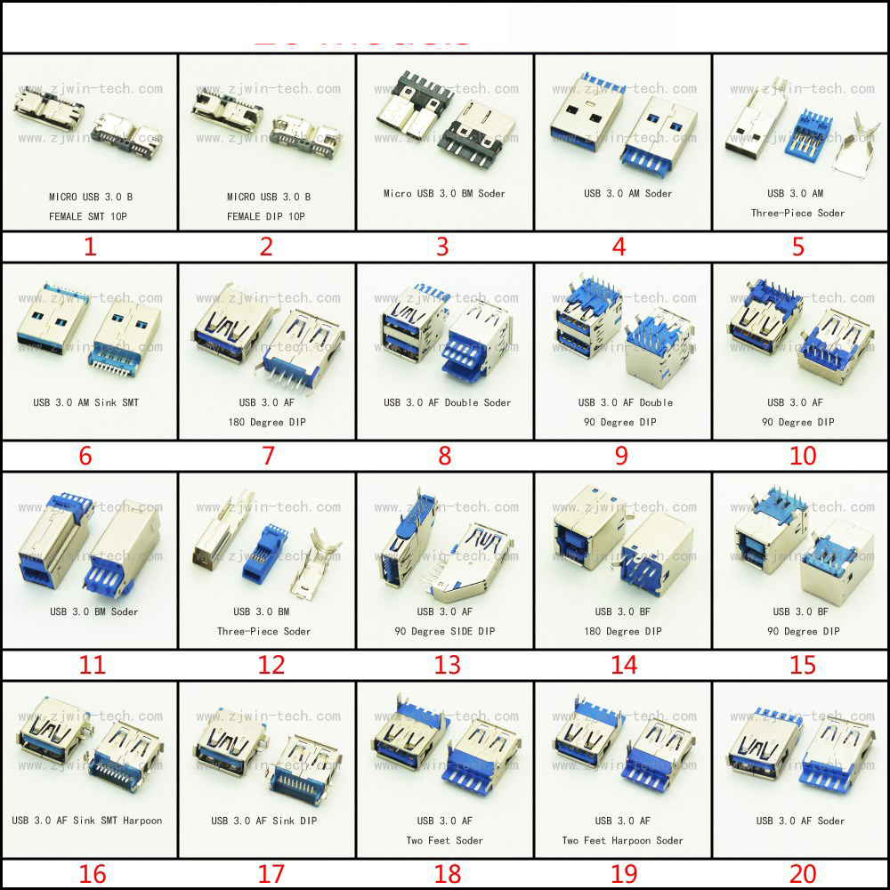 2PCS USB Connector 3.0 Micro USB Jack Dual Charging Socket High-speed Data Transmission For Laptop U Disk Printer